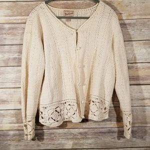Woolrich Button Up Open Front Knit Sweater